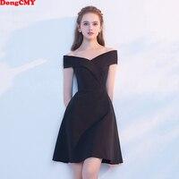 DongCMY 2018 New Arrival short Plus size black colour Slim Party Prom Dress Vestidos