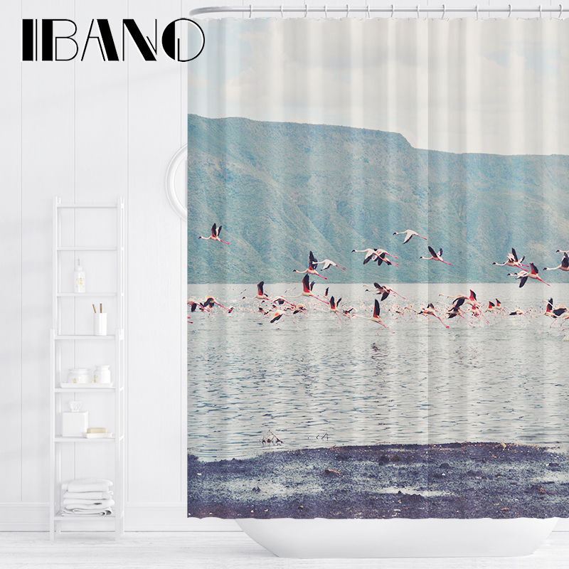 IBANO Bird African Landscap Shower Curtain Waterproof Polyester Fabric Bath For The Bathroom Decoration With 12pcs Hooks