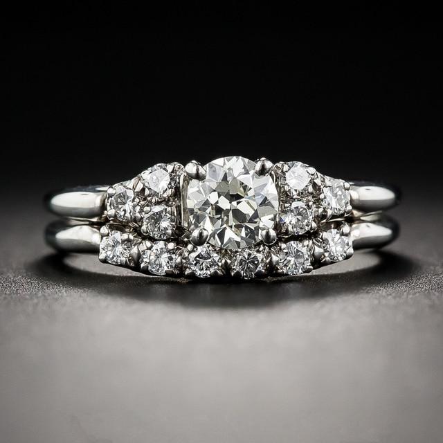 LASAMERO Antique 0.6 CT  Moissanites 10k White Gold Vintage Filigree Art Deco Engagement Ring Lab Grown Diamond Bridal Set