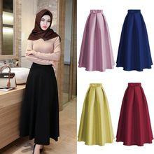 Fashion Muslim Women Casual Maxi Long Pleated Skirts High Waist Ladies Gown  Abaya Dresses Clothing