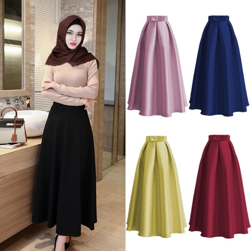 Fashion Muslim Women Casual Maxi Long Skirts A line Solid Color High Waist Ladies Gown Abaya Islamic Clothing Middle East Ramada