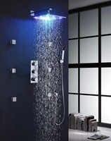Z zawór termostatyczny mikser 12 Cal LED 7 kolory opady deszczu głowica prysznicowa masaż Spray Jets prysznic termostatyczny zestaw 007 12 2C