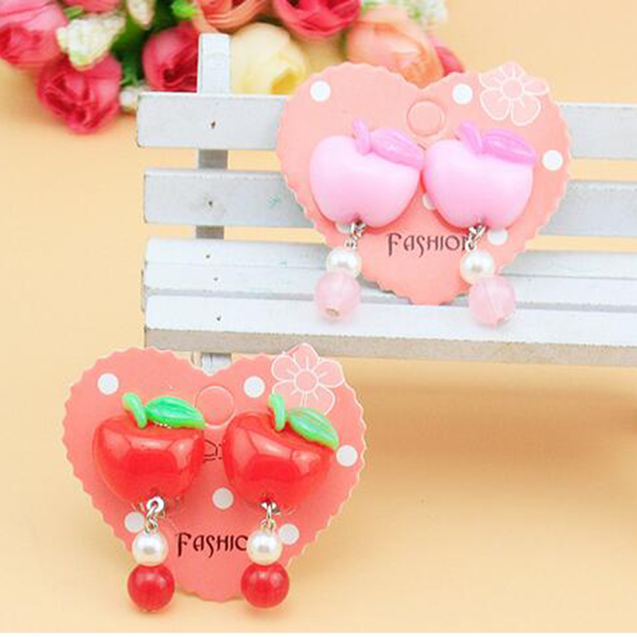 Hot Sale Fashion Apple Ear Clip For Children Round Beads Cute Lovely Baby  Girl Holiday Gift