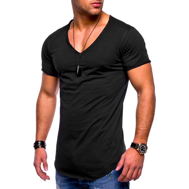 2019 Fashion Men's T-shirt Slim Custom T-shirt Brand Design Fashion Luxury V-neck Fitness Casual T-shirt Slim Fit T-shirt Men