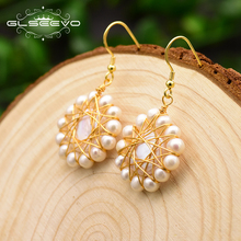 XlentAg Handmade Natural Fresh Water Pearl Sun Flower Drop Earrings For Women Wedding Fine Jewelry Bijoux Femme GE0714