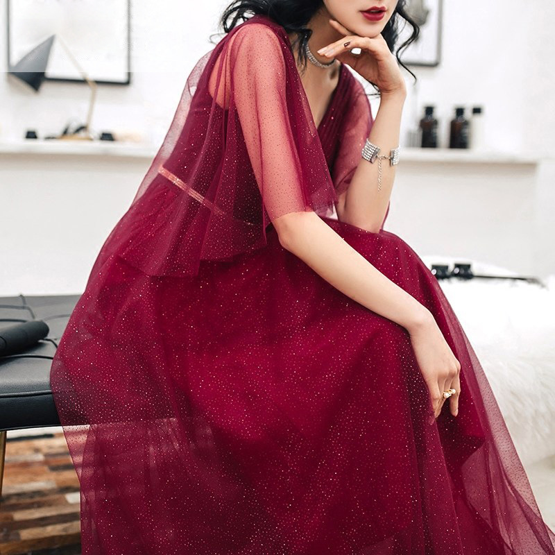 Elegant Satin Burgundy   Prom     Dresses   Long V Neck Luxury Beaded Backless A Line   Prom     Dress   Woman Floor Length Galajurken