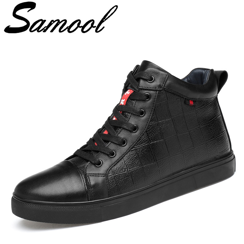 Autumn Winter Men Casual High Top Shoes Genuine Leather Fashion Lace-up Solid Colors Flat Youth Casual Shoes Big Size 36-47 Aux3 2017 autumn winter men shoes genuine leather casual lace up men s flats style comfortable dress work shoes big size 37 47