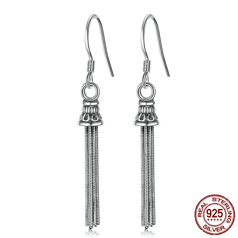 Vintage Long Tassel Fringe Earrings Women 925 Sterling Silver Earrings Female Tibetan Silver S925 Drop Earrings for Women Gifts