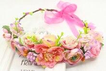 simulation penny flower wreath headband women Rattan simulation flower head festival wedding Ribbon Adjustable girl flower crown