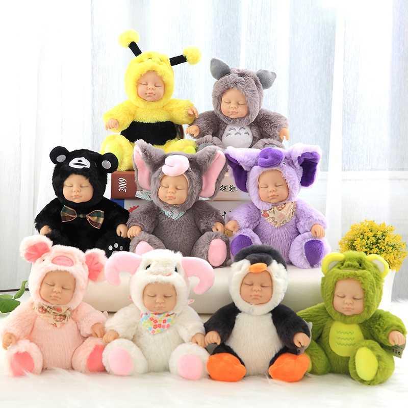 Brinquedo do Bebê Recém-nascido Boneca de pelúcia Brinquedos de Pelúcia Crianças Acompanhar Sono Bonito PVC Face Animal de Pelúcia Boneca de Presente de Aniversário Da Menina para crianças
