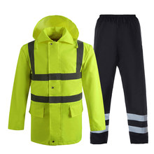 Mens Raincoat Road Traffic Reflective Rain Jacket Pants Workwear Cargo Clothes Pockets Fluorescent Yellow Reflective Stickers(China)