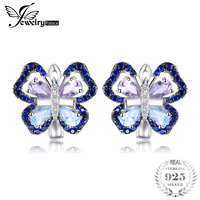 JewelryPalace 4.8ct Genuine Amethyst Sky Blue Topaz Butterfly Clip Earrings 925 Sterling Silver Fine Jewelry New Arrival