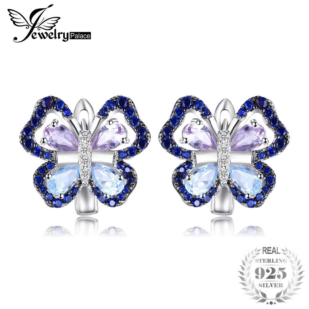 JewelryPalace 4.8ct Véritable Améthyste Ciel Bleu Topaze Papillon Clip Boucles D'oreilles 925 Sterling Argent Bijoux Nouvelle Arrivée