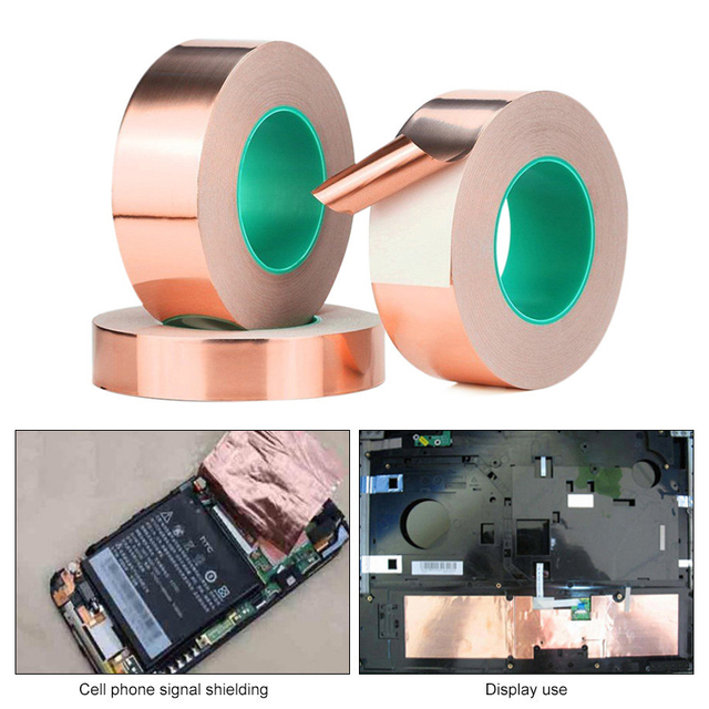 DIY 20M Double Sided Conductive Pure Copper Foil Tape Adhesive Shielding Tape Antenna Signal Enhancement 4/5/6mm 1