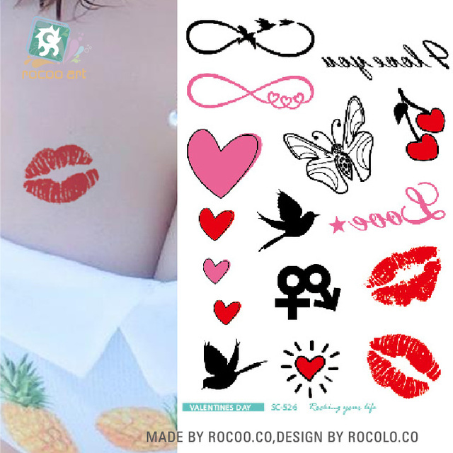 Rocooart Valentines Day Elements Temporary Tattoo Stickers Body Art