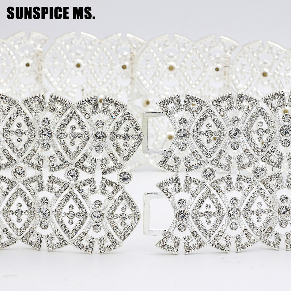 цена SUNSPICE MS Caucasus Vintage wedding Dress Belt Women Bridal Waist Chain Rhinestone Crystal Belly Wide Waist Royal Body Jewelry