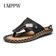 Brand Design Handmade Genuine Leather Mens Cool Slippers New 2019 Summer Beach Casual Shoes Flip Flops Non-Slip