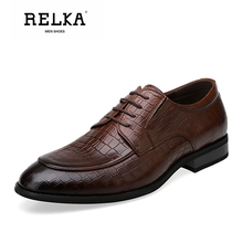 Купить с кэшбэком RELKA Luxury Men Shoes High Quality Genuine Leather Pointed Toe Soft Heel Shoes Solid Classic Lace-up Comfortable Men Shoes N26