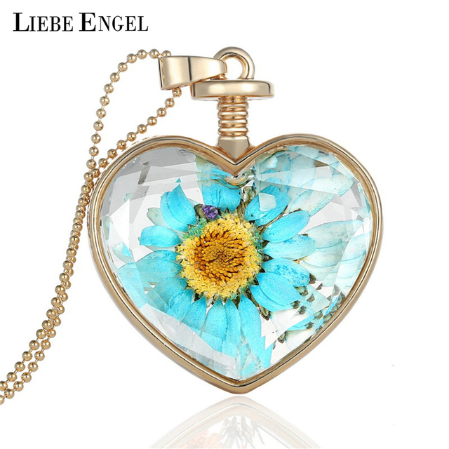 Liebe engel jewelry vintage dried flower collares crystal glass liebe engel jewelry vintage dried flower collares crystal glass heart pendant necklace summer necklaces pendants mozeypictures Images