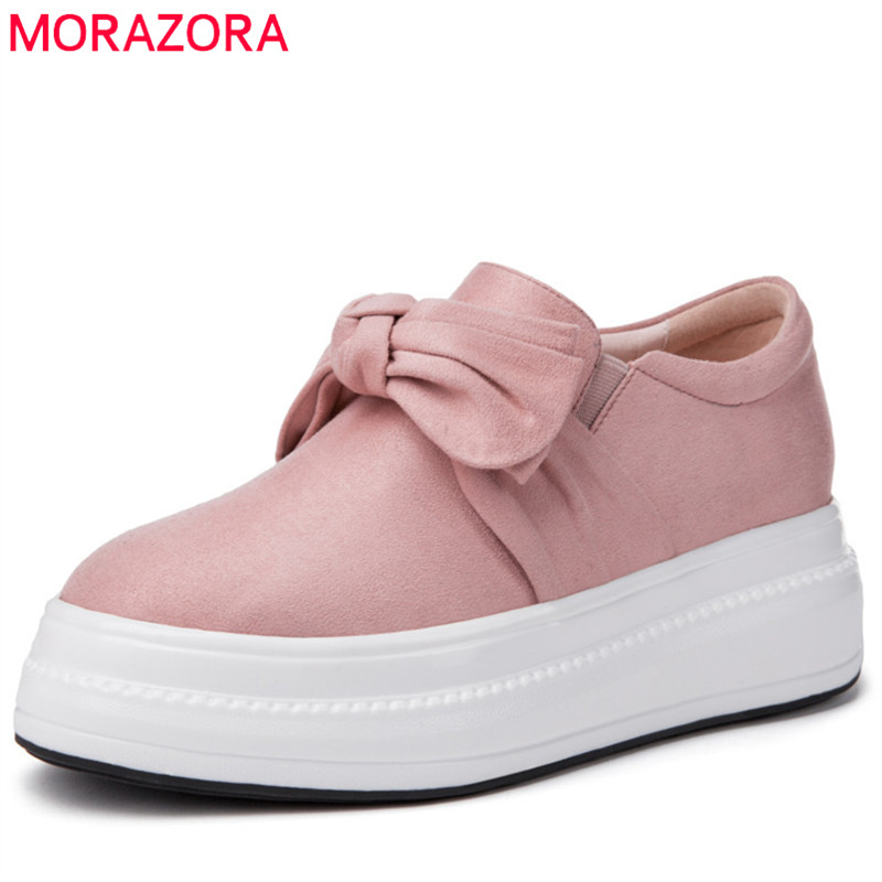 MORAZORA 2019 new arrival flat shoes woman   suede     leather   spring summer shoes round toe bowknot casual platform shoes woman pink