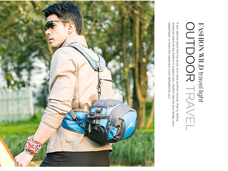 Men Women Sport Waist Bag Pack Backpack With Bottle Holder Outdoor Exploration Travel Casual Cycling Gym Storage Bag Packs (10)