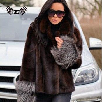 цена BFFUR 2019 Fashion Genuine Natural Mink Fur Coat Women Winter Short Outerwear Whole Skin Real Mink Fur Jacket With Fox Fur Cuff онлайн в 2017 году