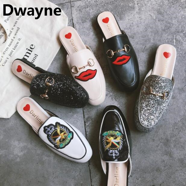 Autumn Retro Leather Slippers Women embroidery Mules Shoes woman Loafers Slip On Flat Sandals Ladies Shoes Woman Zapatos Mujer