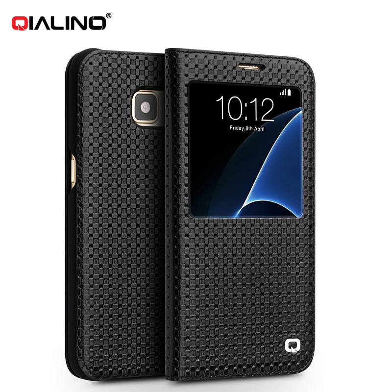 QIALINO Luxury Coque S View Flip Cover for Samsung Galaxy S7 S7 Edge G930 G935 Genuine