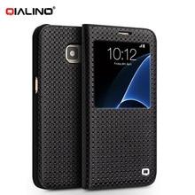 QIALINO Роскошные S-View Мобильный Крышка Флип для Samsung Galaxy S7 S7 Edge G930 G935 Натуральная Кожа проснись/сон Смарт Case