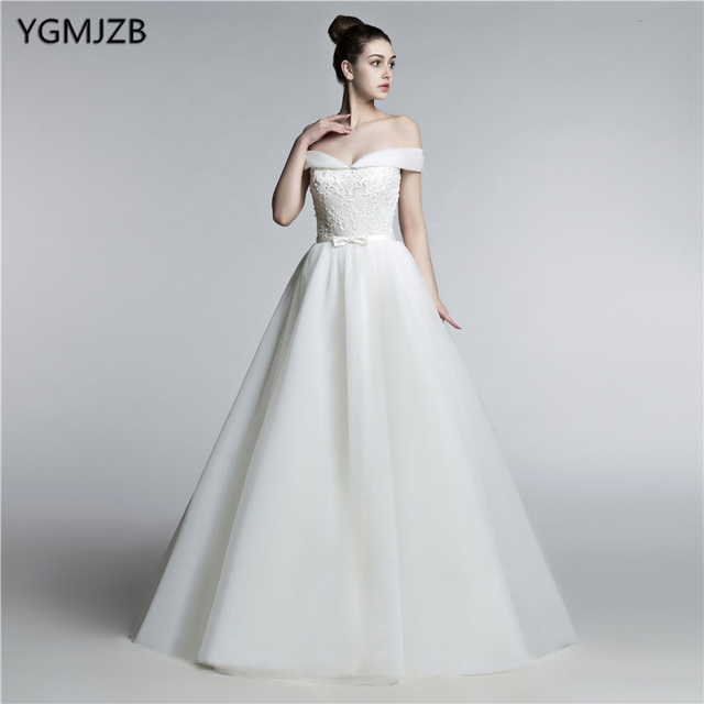 New Arrival Elegant Wedding Dresses 2018 A Line Off Shoulder Lace