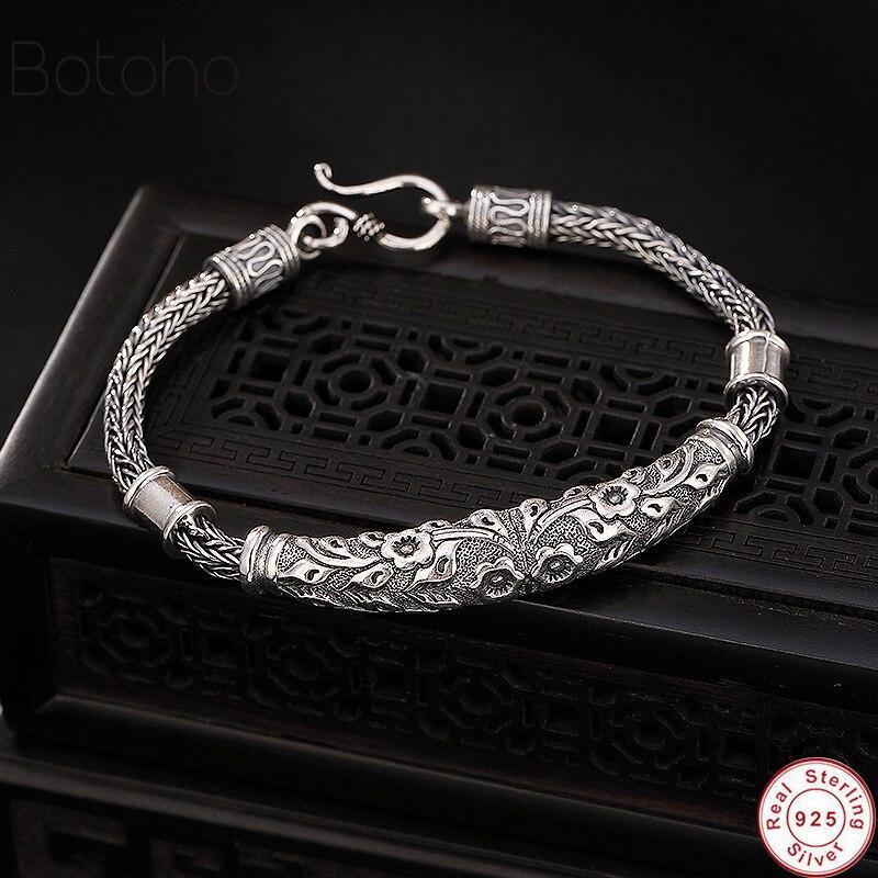 Genuine 100% Real Pure 925 Sterling Silver Men bracelets Hemp Rope Vintage Handmade Thai Silver Men women jewelries Fine Gift