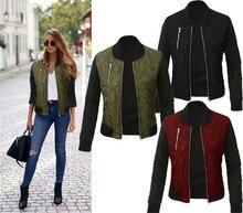 2016 Hot Sale Solid Cotton Women Jacket Casual Slim Autumn Zipper Bomber Jacket Women Basic Coats Fashion Winter Jackets CA143