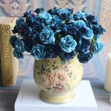 Przydatne niebieskie piękne eleganckie Austin 15 głów jedwabne kwiaty sztuczna róża wesele wystrój