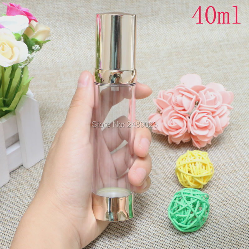 Купить с кэшбэком 20ml 30ml 40ml Gold Airless Bottle Vacuum Pump Lotion Cosmetic Container Used For Travel Refillable Bottles 10pcs/lot