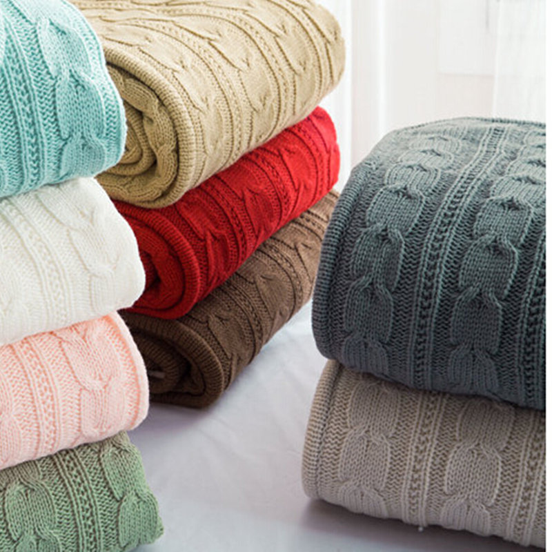 100% cotton high quality handmade soft knitted blanket green, beige, red,brown,blue white, gray, pink knit sofa blanket