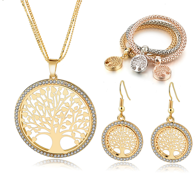LongWay Gold Color Tree Of Life Jewelry Set For Women Girls Necklace Earrings Bracelets Wedding Crystal Jewellery Set SET160008