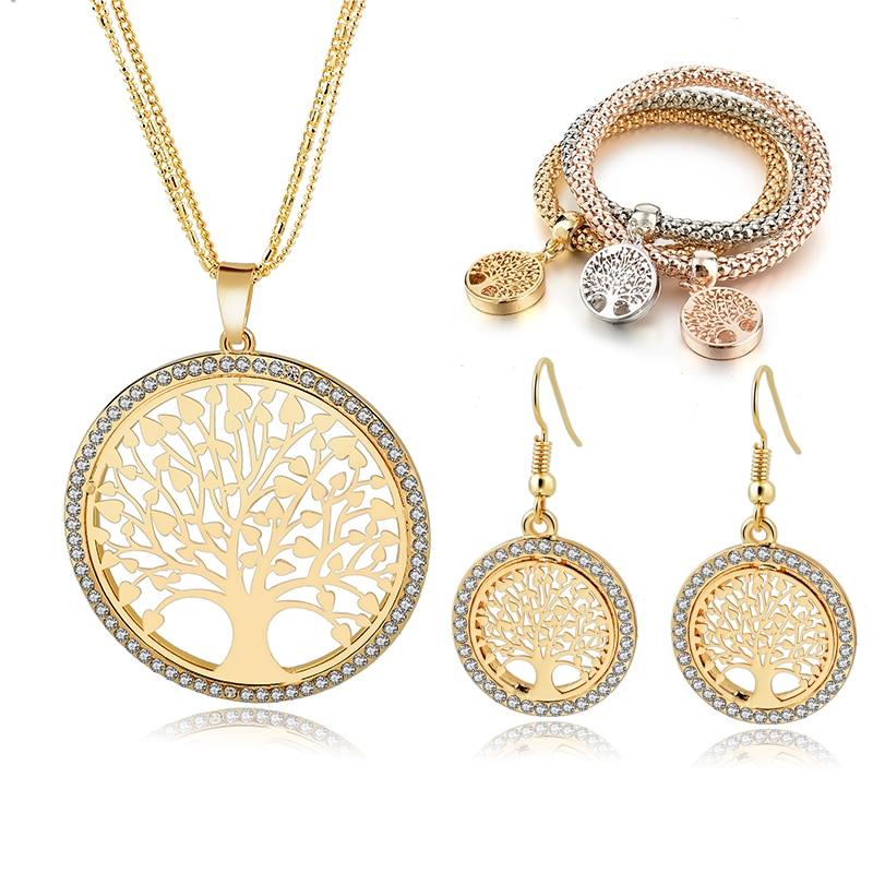 LongWay Gold Farbe Baum Des Lebens Schmuck-Set Für Frauen Mädchen Halskette Ohrringe Armbänder Hochzeit Kristall Schmuck Set SET160008