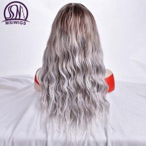 Image 5 - MSIWIGS Lange Ombre Blonde Pruiken voor Vrouwen Synthetisch Haar Krullend Pruiken Grauwe Grijs Natuurlijke Wortel Cosplay Haar Hittebestendige