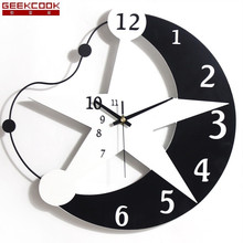 12 Inch Creative Star Wall Clock Modern Design Living Room/Kids Room Wall Watch Home Decor Wooden Wall Clocks Digital Clock Wall