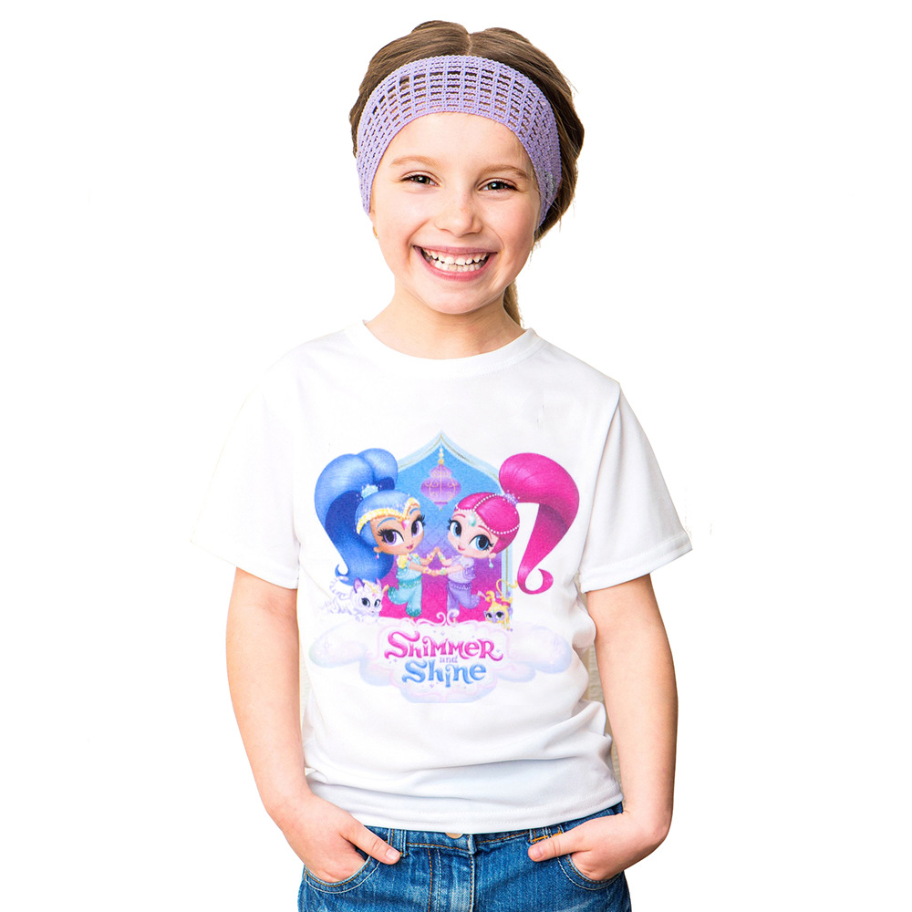 HOT New Summer children clothes girls Shimmer and Shine t shirt cartoon patterns kids short sleeve t-shirts 100% cotton cotton bull and letters print round neck short sleeve t shirt