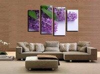 4 יחידות סגול פרחי בית תפאורה קיר בד ציור ממוסגר תמונות לסלון קיר אמנות בד גדול HD מודולרי תמונות