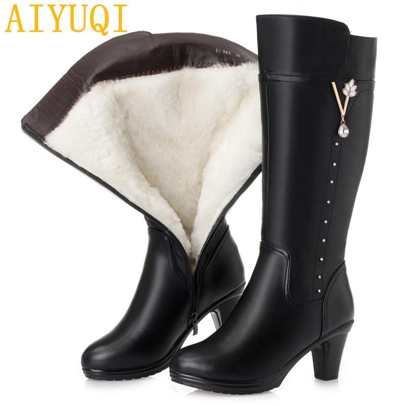 Grande taille femmes Martin bottes 2019 nouveau cuir véritable femmes bottes d'hiver à talons hauts, laine naturelle femmes bottes de moto-in Bottines from Chaussures    1
