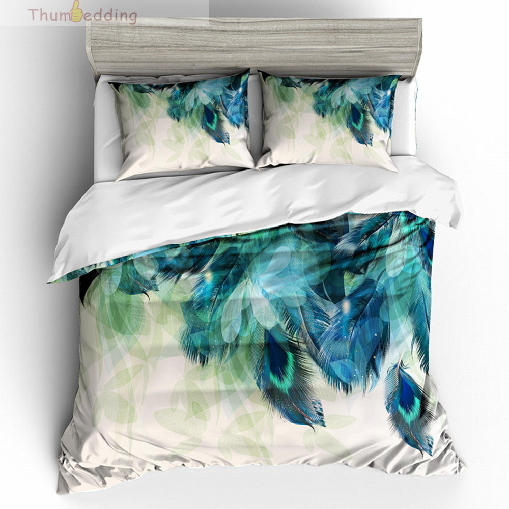 Thumbedding Animal Bedding Set Peacock Feather Cartoon 3D Duvet Cover Set King Size Twin Full Queen King Decorative Bed set(China)