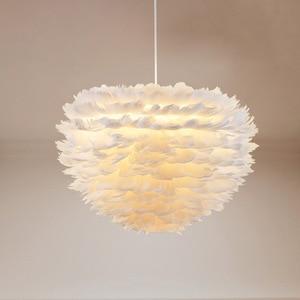 Image 3 - Nordic white feather pendant lights creative personality Nordic bedroom restaurant childrens room bird plume nest pendant lamp