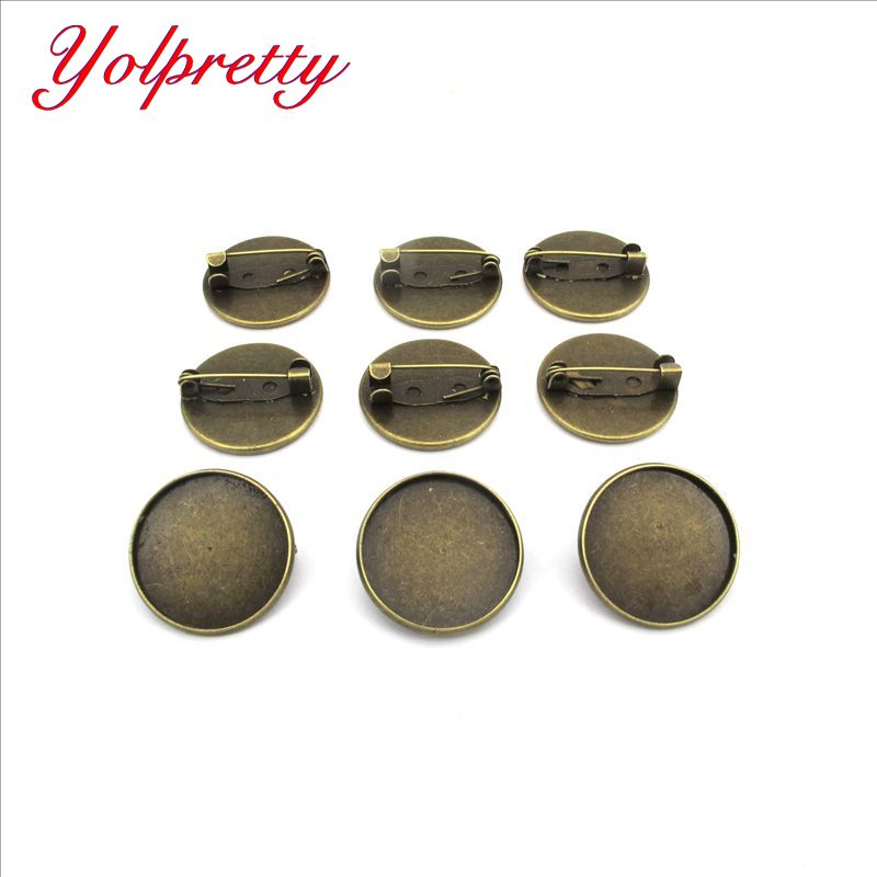 Yolprtty Wholesale ( No Fade ) 10pcs 20mm Inner Size Iron Material Brooch Style Cabochon Base Cameo Setting Charms Pendant Tray