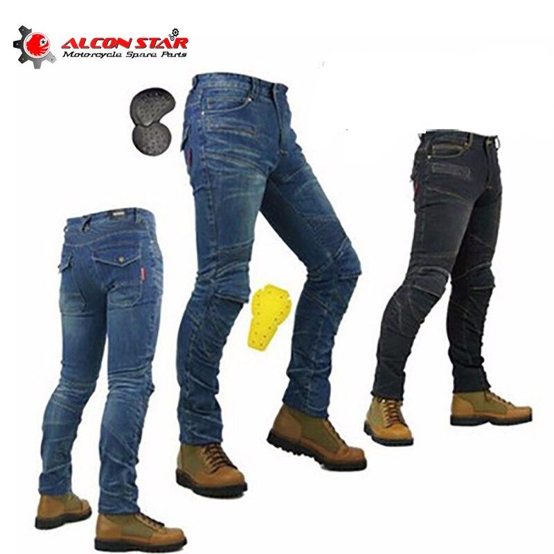 Alconstar-PK-718 мотоцикл мужчины Штаны внедорожных женские брюки Открытый мужские джинсы Мотокросс Велосипеды С Kneepad Pad брюки