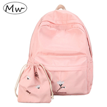 Moon Wood Women Pink Backpack 2 Pcs Set Waterproof Fresh Style Embroidery Flowers Backpack School Bags