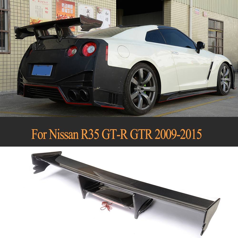 цена на Carbon Fiber Auto Racing Rear Wing Spoiler Tail Trunk Lid boot Lip wing for Nissan R35 GT-R GTR 2009 - 2015 Black FRP Car Style