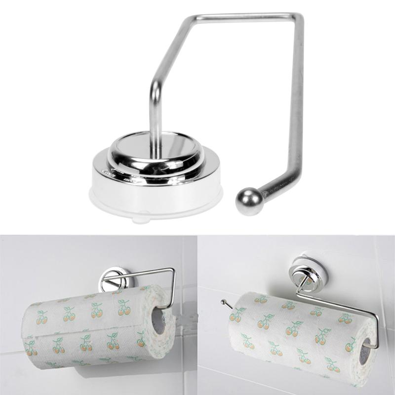 Stainless Steel Suction Cup Wall Mount Toilet Paper Shelf Organizer Bathroom Storage Shelves Racks Roll Paper Holder Towel Rack