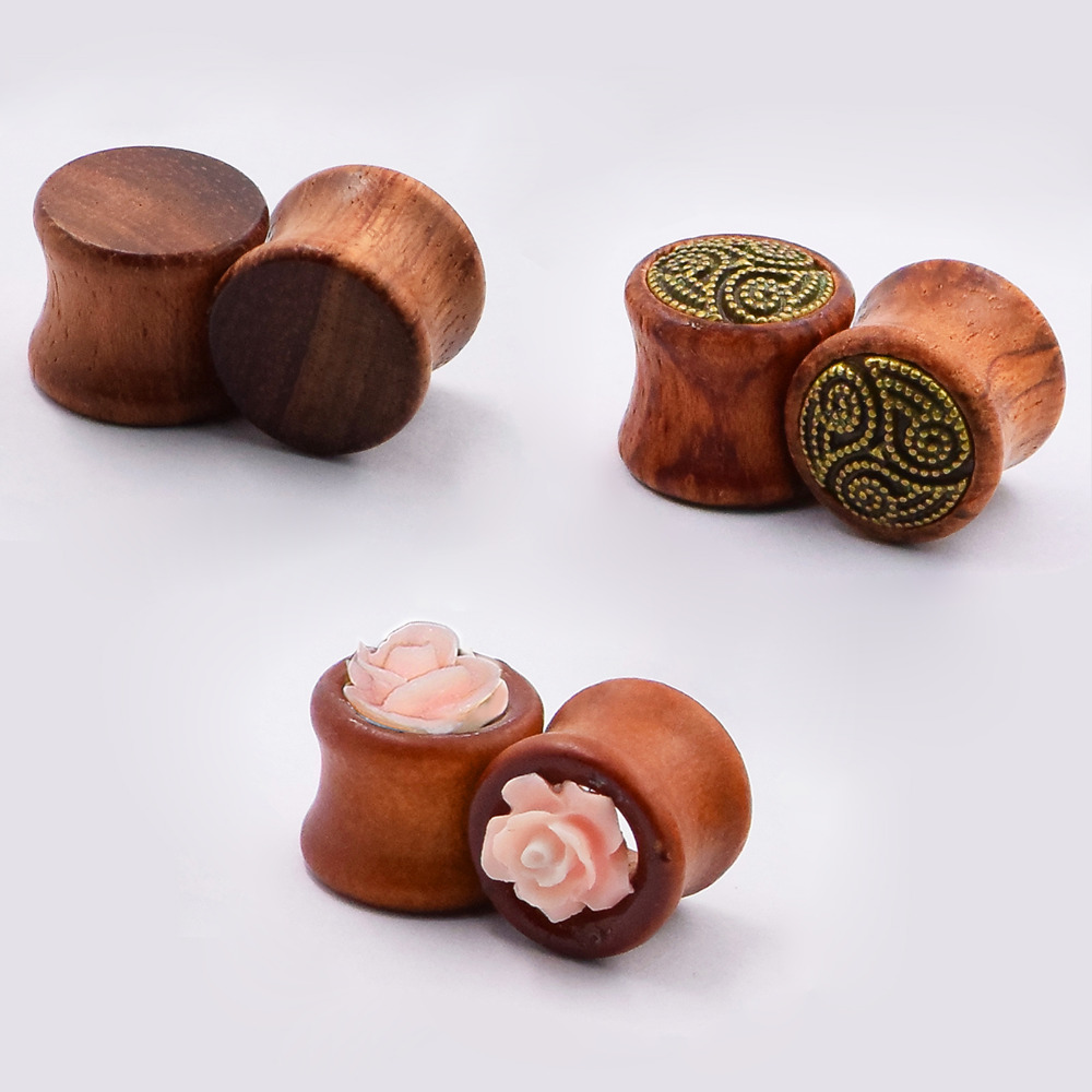 3pair Wood Ear Tunnels Plugs Flesh Flared Ear Skins Pierces Expansions for women man Earlet font